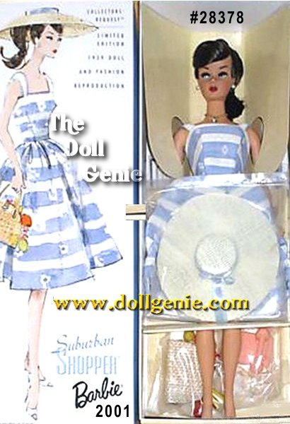 Limited Edition  - Take a shopping trip down memory lane with this nostalgic reproduction of the 1959 fashion favorite, Suburban Shopper. Out and about in a wonderful 50s blue and white striped sun dress, this Barbie doll is the epitome of style from the period. Her fun, straw-like cartwheel hat and handbag with summery fruits harken back to a simpler, sweeter day. A golden chain necklace with a faux-pearl pendant gives the Limited Edition doll a final charming touch.