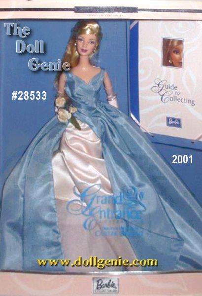 Designed by Carter Bryant, Grand Entrance Barbie doll wears a steel blue taffeta gown with a fitted bodice and long, full skirt with an underskirt of blush pink satin and ivory/pale pink tulle. Beautiful blush roses at her waist, and long blush gloves accent this classic look. The finishing touches include blush pumps, and rhinestone and faux pearl earrings. The premier doll in a new series devoted to Barbie collecting comes with a Guide to Collecting, and a Certificate of Authenticity.