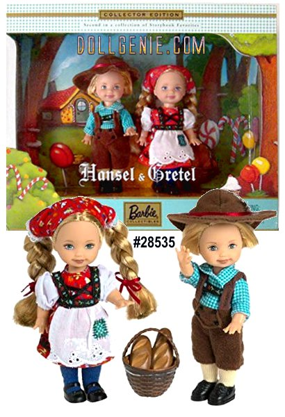 Hansel and Gretel look positively enchanting in their German-inspired outfits. Hansel wears brown lederhosen and a checked shirt. A matching brown hat with red trim and feather, and adorable black shoes with yellow socks complete his ensemble. Gretel wears a red floral print dress with white sleeves and attached apron. A matching red floral scarf with lace trim, blue tights and black shoes complement her look, as do her blonde braids with red hair bows. A charming bread basket and bread accompany the siblings, as described in this beloved childhood story.