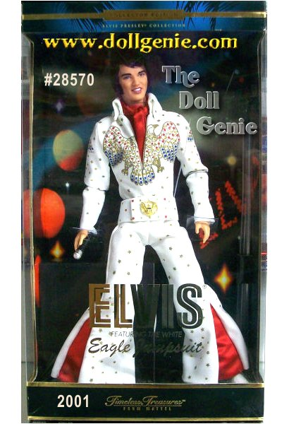 Elvis doll is wearing a re-creation of his magnificent white Eagle Jumpsuit. His costume features eagle motifs on the chest, sleeves and belt. The eagle on the chest is detailed with a dazzling glitter print. Additional golden stars and golden belt buckle further enhance this highly theatrical design. His scarlet neck scarf and molded white boots add to the fun and flair of the look. Elvis has a poseable vinyl body and hand microphone so you can create a dramatic pose for his display.
