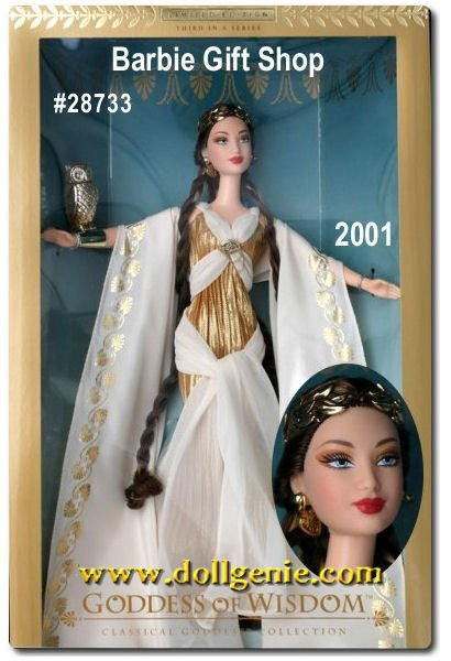 Goddess of Wisdom Barbie doll recalls the classic splendor of a mythic age. Her pleated gown is finely crafted of golden fabric and features a bodice draped with ivory chiffon accented by a gleaming, golden medallion. An ivory palace crepe cape, embellished with golden Greek-inspired designs, adds sweeping elegance to the slim silhouette. The ensemble is completed with delicate sandals, golden earrings, and a wondrous headdress featuring a laurel leaf motif. Alighting on her antique gold-tone wrist cuff is her companion--an owl, the symbol of her great wisdom.