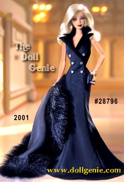 Dressed in a floor-length sleek black gown and matching faux fur stole, Midnight Tuxedo Barbie makes a bold statement. Her sleeveless gown is fashioned like a tuxedo coat with satiny lapels and six silvery buttons. With dramatic face paint, and a glorious mane of flowing hair, this club exclusive doll will surely steal your heart.
