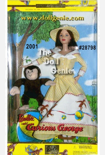 For over six decades, the escapades of a mischievous little monkey and the man in the yellow hat have entertained boys and girls around the world. Now, Curious George goes on a whole new adventure with a new friend, Barbie doll. Barbie wears a playful dress that depicts cherished moments from her favorite Curious George stories. She wears an enchanting yellow and white gingham outfit, trimmed with a crisp white  collar and red and white trim. A fabulous white panel depicting George himself encircles her skirt. Yellow high-heeled Mary Janes and bold red earrings complement her look. Finally, a yellow and white gingham hat, an homage to the man in the yellow hat, completes her delightful ensemble. Beautifully reproduced in soft plush, George proudly accompanies her.