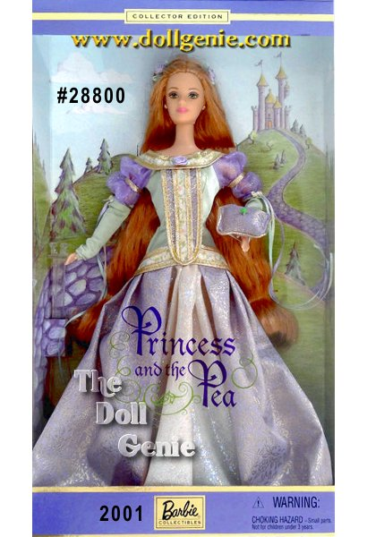 Barbie doll assumes the role of a beautiful princess in this timeless fairy tale - The Princess & the Pea. Dressed in a lovely gown of lavender, pale green, and cream accented with golden trim, Barbie is sure to impress her prince. Her long, flowing strawberry blond hair and delicate costume are every bit as charming as the original story. And what else could complement this ensemble better than an adorable little pillow upon which rests the famous pea!