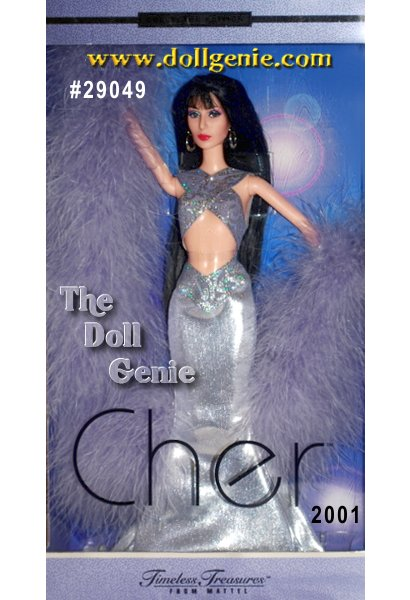 Limited Edition - In a daring lavender gown designed by Bob Mackie, this Cher doll achieves incredible likeness to her namesake. True-to-life details include authentic face sculpting, dramatic face paint, and a gorgeous mane of black hair. And the dress - a stunning lavender ensemble fit for this legendary entertainer. Criss-cross halter, floor-length skirt, and a fabulous feather boa make a bold statement. Silvery swirled detailing accents the gown, adding just the right amount of sparkle to this already breathtaking doll.