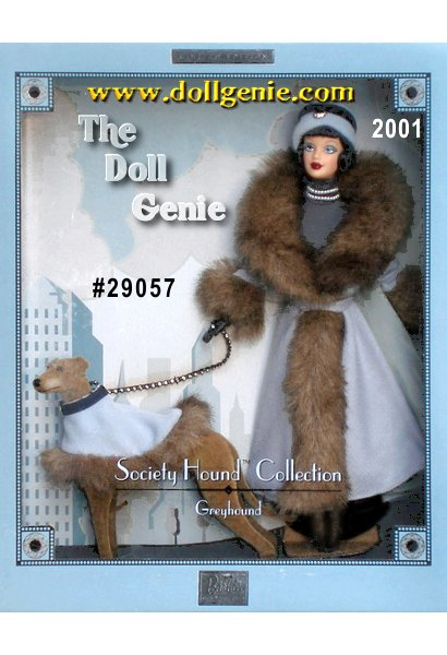 Barbie doll and her sleek greyhound step out into the cool day draped in their luxurious matching ensembles. Barbie wears a charming 1920s-inspired blue grey faux fur trimmed dress with matching lined cape. Her four-footed companion also wears a blue grey cape with faux fur trim. A rhinestone leash adds showy sparkle to his sophisticated gait. Together they are a uniquely refined complement to any wind-swept season. (One side of the box has a few scuff marks, otherwise its perfect)