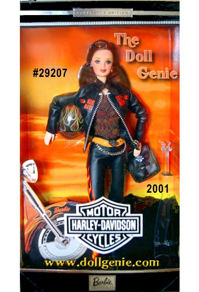 Harley Davidson Barbie doll wears a fun, edgy black leathery ensemble with orange flames. A black leatherette jacket with real working zipper proudly features the world famous logo. Intricately detailed, this outfit is accented with a silvery chain, black backpack, and boots. A sleek black helmet and sunglasses make Harley-Davidson Barbie unforgettable.