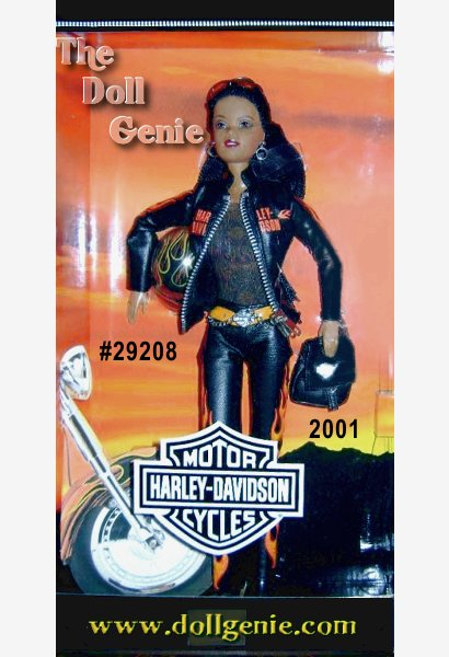 Harley Davidson Barbie doll wears a fun, edgy black leathery ensemble with orange flames. A black leatherette jacket with real working zipper proudly features the world famous logo. Intricately detailed, this outfit is accented with a silvery chain, black backpack, and boots. A sleek black helmet and sunglasses make Harley-Davidson Barbie unforgettable. Designed by Sharon Zuckerman