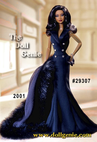 Limited Edition -Dressed in a floor-length sleek black gown and matching faux fur stole, Midnight Tuxedo Barbie makes a bold statement. Her sleeveless gown is fashioned like a tuxedo coat with satiny lapels and six silvery buttons. With dramatic face paint, and a glorious mane of flowing hair, this club exclusive doll will surely steal your heart.