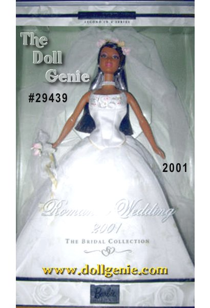 Second in The Bridal Collection, featuring Barbie doll as a beautiful bride wearing classic and contemporary bridal fashions. Barbie looks absolutely breathtaking in an ensemble that combines traditional bridal motifs with modern day elements. Her off-white gown is stunning, set off with a soft yellow floral design. Completing the ensemble are a veil accented with pink and yellow flowers and a lovely floral bouquet. And because all brides love pearls, Barbie wears a faux pearl necklace and ring.