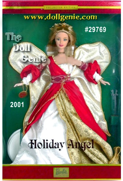 Second in the Holiday Angel series which brings together three popular collecting themes the holiday season, angels and Barbie doll. Barbie is a beautiful angel wearing a stunning ensemble inspired by the festive hues of the holiday season. Her red and golden gown is accented with a white bodice and sleeves and a distinctively textured white fabric that flows beneath the long red skirt. Completing Barbie dolls ensemble are delicate golden wings, a ribbon choker and a shining golden halo.