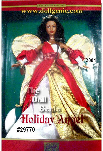 Second in the Holiday Angel series which brings together three popular collecting themes the holiday season, angels and Barbie doll. Barbie is a beautiful angel wearing a stunning ensemble inspired by the festive hues of the holiday season. Her red and golden gown is accented with a white bodice and sleeves and a distinctively textured white fabric that flows beneath the long red skirt. Completing Barbie dolls ensemble are delicate golden wings, a ribbon choker and a shining golden halo