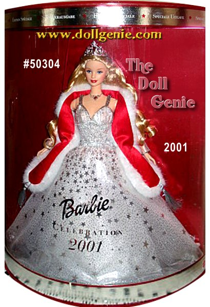 Wearing a shimmering crystalline gown accented by sparkling silvery stars, Barbie glimmers with holiday cheer. Her delicate ensemble includes a faux fur stole, silvery necklace and earrings, and a spectacular silvery tiara that rnrests atop her head. Beneath the tiara, her long hair falls about her rnshoulders in cascading tendrils. Holiday Celebration Barbie doll truly is the brightest star in the holiday sky.