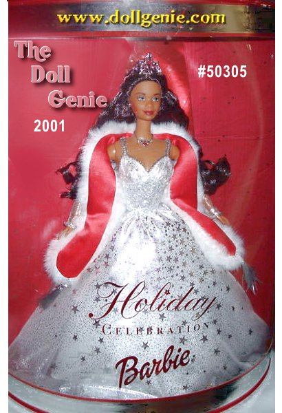 Wearing a shimmering crystalline gown accented by sparkling silvery stars, Barbie glimmers with holiday cheer. Her delicate ensemble includes a faux fur stole, silvery necklace and earrings, and a spectacular silvery tiara that rests atop her head. Beneath the tiara, her long hair falls about her shoulders in cascading tendrils. Holiday Celebration Barbie doll truly is the brightest star in the holiday sky.