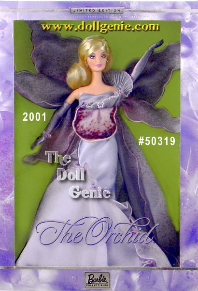 Softly luxurious, Barbie doll blooms as The Orchid. An uncommon interpretation of a fresh flower, she wears a lovely gown of lavender-hued charmeuse. The satin bodice is adorned with a ruffle of metallic pleated organza. Shimmery sweeps of ombre printed satin organza surround Barbie as tender petals. A long cape of iridescent lavender chiffon creates a sweeping silhouette, enfolding Barbie in the fantasy orchid design. Long satin gloves in a delicate matching shade continue the sophisticated styling. A final perfect jewelry suite includes a sparkling bracelet and extraordinary drop earrings.