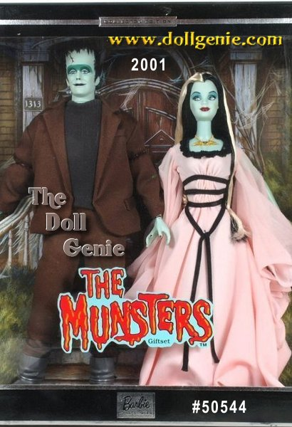Collector Edition - Barbie doll and Ken doll as Lily and Herman Munster are perfect as the beloved, offbeat couple from the famous 1960s TV show, The Munsters. Barbie is elegantly ghoulish as Lily Munster, complete with Lilys raven black hair and signature blond streak. She wears a flowing light pink gown that sets off the eerie shade of her greenish skin. The dress is an authentic reproduction, with wing-like cut-outs at the arms and a black tie at the waist. A bat hanging from her necklace and black fingernails complete her look. Ken as the frightful, but good-natured Herman towers above Lily. He has Hermans monster-like look, with an exaggerated forehead and brow, flat-top head that appears as if it can be opened and two bolts in his neck. He wears an authentic reproduction of Hermans brown suit, charcoal sweater and oversized gray boots.