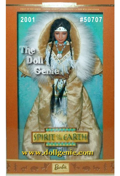 Native Spirit Collector Edition Barbie doll pays tribute to the majesty and romance of the Native American culture as Spirit of the Earth. Her long brown hair in braids, she wears a beautiful tan faux suede dress, fringed and accented with a brown belt. A full-length coat, trimmed with faux fur, continues the earth-toned theme. A colorful, beaded necklace completes the captivating ensemble.