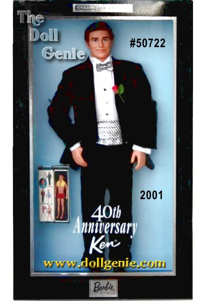 Commemorating Ken dolls 40th anniversary, Ken wears a smart tuxedo and is the perfect accompaniment to the 40th Anniversary Barbie doll. Ken is dressed for the occasion, in an elegant black tuxedo, complete with a white satin shawl collar and pink boutonniere. Ken also comes with a boxed mini replica of the very first Ken doll wearing his red bathing suit and yellow towel, circa 1961.