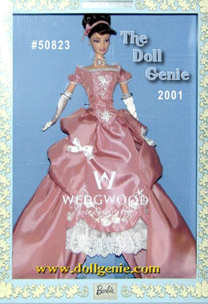 Second in a series that celebrates the elegance and exquisite artistry of Wedgwood china, Barbie doll looks stunning in a gorgeous pastel pink ensemble. Her full-length pink taffeta gown is embellished with delicate white floral embroidery and complemented by a pretty white petticoat. Inspired by the famous Wedgwood porcelain designs, her dress is decorated with two white bows in front and a graceful train in back. Long white evening gloves and simple pearl drop earrings set off the ensemble to perfection. To make this doll even more special, she comes with a real piece of Wedgwood Jasper wear a miniature cameo captured in a lace-trimmed choker necklace.