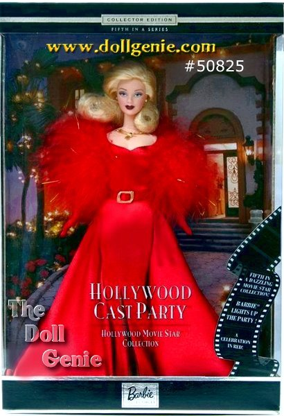 Fifth in the Hollywood Movie Star collection, Barbie doll is ready to celebrate the season at a glamorous holiday party. Barbie doll exudes glamour and sophistication in a head-turning holiday ensemble. She wears a stunning red charmeuse gown that falls gracefully to the floor, accented with a matching red belt with golden buckle. Around her shoulders, her red marabou shrug shimmers with golden threads. Completing her ensemble are red gloves, a golden and rhinestone necklace and golden earrings.