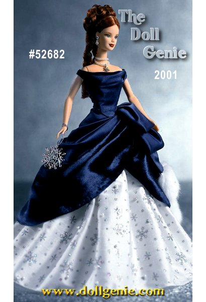 Barbie celebrates the holidays in style wearing an extraordinary midnight blue gown, deliciously draped against an ivory-colored underskirt. Her red curls are upswept with hanging ringlets. Accessories include off-white opera gloves, snowflake design earrings, and a double-strand faux pearl necklace, accented with a silvery snowflake charm. Barbie holds a shimmering snowflake ornament, inscribed with the year 2001, as the perfect final holiday accoutrement.