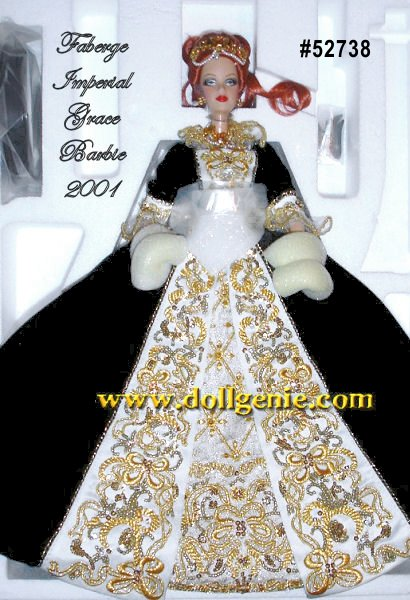 Faberge Limited Edition - An exquisite testament to the splendor that is Faberge, Imperial Grace Barbie doll wears a regal, black velvet and ivory satin gown. Golden embroidery and elaborate beading lend rich embellishments. The jewelry suite of necklace, drop earrings, and headpiece add the beauty of faux pearls. Finally, the work of Peter Carl Faberge inspires a perfect, golden egg-shaped purse which opens to reveal a precious crystal surprise.
