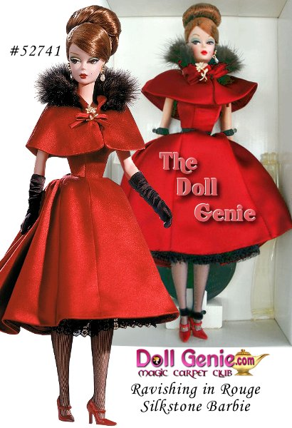 Barbie looks elegant in her full skirted crimson satin dress and matching cape trimmed in faux sable. A black lace petticoat enhances the flair and flirt of the skirt, while the subtle sparkle of golden and rhinestone jewelry add sleek panache to this already sensational party ensemble.