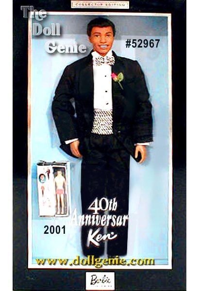 Commemorating Ken dolls 40th anniversary, Ken wears a smart tuxedo and is the perfect accompaniment to the 40th Anniversary Barbie doll. Ken is dressed for the occasion, in an elegant black tuxedo, complete with a white satin shawl collar and pink boutonniere. Ken also comes with a boxed mini replica of the very first Ken doll wearing his red bathing suit and yellow towel, circa 1961. Designed by Sharon Zuckerman