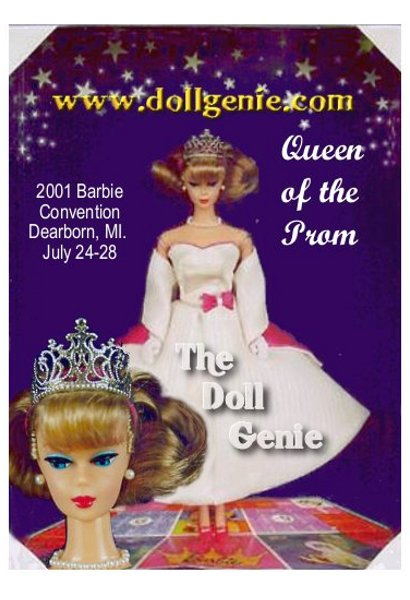 Barbie celebrates the nostalgic essence of high school prom, while commemorating the  40th anniversary of the Queen of the Prom board game. This is a gorgeous doll, using the 1959 Barbie head mold  with the coveted side-part American Girl hairstyle! She wears a  lovely white prom dress with pink satin accents and a matching  lined wrap. 2001 Barbie Convention - Dearborn, MI. July 24-28  Less then 1,000 made!