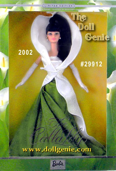 Dressed in a full-length green silk skirt resembling spring-fresh leaves, and an ivory satin jacket shaped like a calla lily flower, Barbie doll is a true vision of floral splendor. Her jet-black hair is pulled into a sleek ponytail, showing off faux pearl earrings, and her striking face paint. White charmeuse gloves add a finishing touch to this blooming beauty.