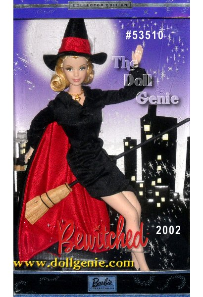 Fans of the classic television show Bewitched will adore this delightful doll! Wearing a reproduction of the ensemble Samantha wore during the shows animated opening, Barbie doll captures the wacky and wonderful spirit of this beloved television character. In a black dress that laces up the front, a black cape lined in glittering red and black high heels, Barbie is truly bewitching. Charming finishing touches include a black witchs hat with a glittering red band, Samanthas golden heart pendant and Samanthas favorite mode of transportation, a broom!
