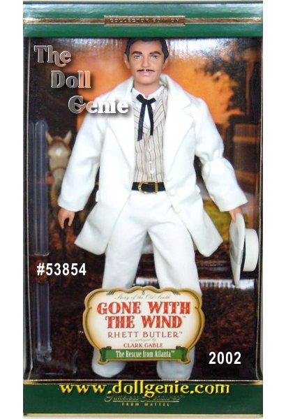 Collector Edition -Incredible sculpting and intricate face paint capture the suave essence of the character Rhett Butler in the legendary film Gone With the Wind. This handsome dolls ensemble includes a cream-colored suit with jacket and matching tailored pants, a multi-stripe vest over a white dress shirt, a black tie and belt, black boots, and a dapper hat.