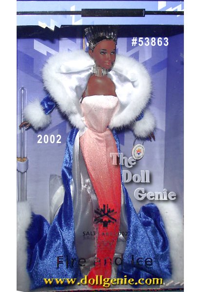 Commemorating the excitement of the Salt Lake City 2002 Winter Olympic Games, Barbie wears a glamorous winter-inspired ensemble. Her glittering bodysuit is styled in shades of orange - lighter shades at the bodice fading to a vibrant orange at her ankles. Her full-length blue coat is trimmed with white faux fur and a white lining. Barbie dolls hair is styled in an elegant updo, topped by a beautiful translucent crown. African American Version