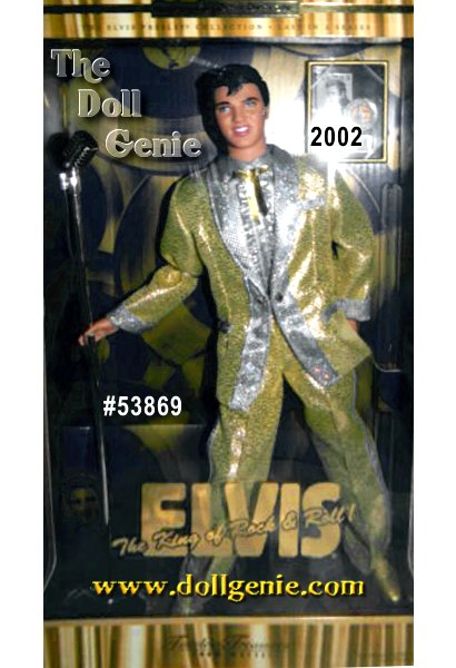 Collector Edition -  Commemorating the 25th anniversary of Elvis passing, the King of Rock n Roll is back, and looking better than ever! This Elvis doll wears a original gold lame suit with a holographic foil dot print around the lapel, pockets, and down the side of his pants, a version of the outfit he wore during his successful 1957 Chicago performance. He is wearing a silvery shirt with silver ruffles and collar, and a golden ribbon bowtie. Even his shoes are golden! Doll comes with a microphone and album plaque commemorating his gold, platinum or multi-platinum awards. Doll cannot stand alone as shown.