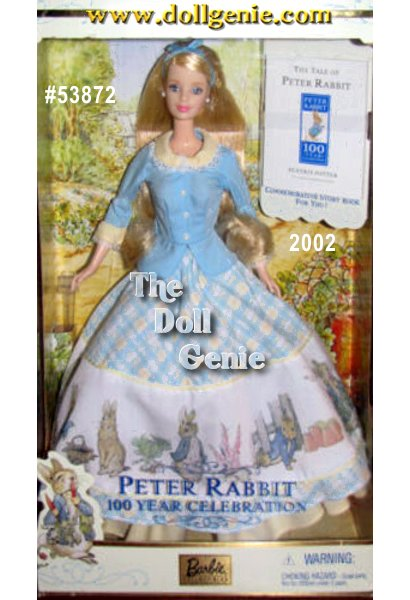 Celebrate the 100 year anniversary of Beatrix Potters beloved childrens story, The Tale of Peter Rabbit! Barbie doll wears a delightful ensemble featuring a light blue jacket with yellow collar and cuffs accented by white lace, and a plaid skirt with adorable images from the book. Her long blond hair is tied back with a light blue ribbon. The doll comes with a small commemorative storybook that will surely re-awaken collectors interest in this childhood classic.
