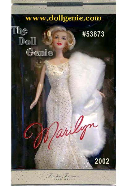 Brilliantly sculpted in the legendary entertainers likeness, Marilyn Monroe Doll #1 wears a version of her famous flesh-colored dress. Shes positively breathtaking in a long evening gown of ivory chiffon with all-over glitter print. Plunging back neckline, faux pearl stud earrings, and accompanying white faux fur stole lined in satin complete the luminous ensemble. The dolls platinum blonde hair is styled in the way Marilyn wore her hair during this era of her life.