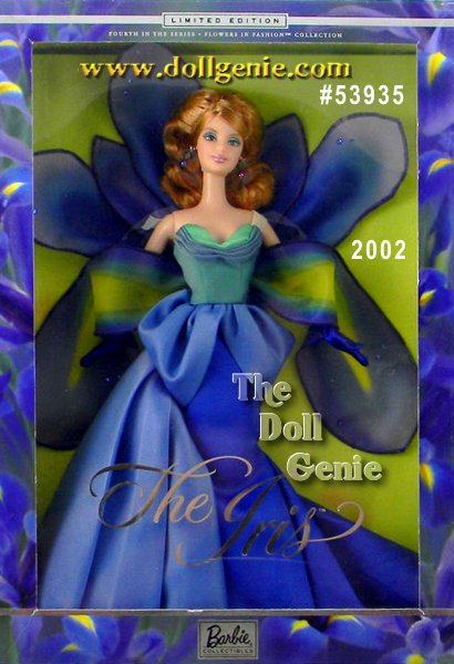 Barbie doll blooms beautifully in this fantastical interpretation of an iris. She wears a long satin and organza gown featuring spectacular blue and green hues like those found on the elegant iris flower. A green satin bodice and adjoining petals that drape into a shawl create an elegant arrangement, while her fitted long satin blue skirt attaches to a dramatic train behind her. Accessories include beaded earrings, long blue satin gloves, and matching shoes. Her lush golden blond hair cascades around her shoulders, and creates a striking contrast to her magical ensemble.