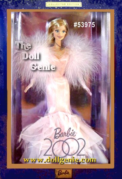 Dressed in a sensational pink glittery fitted gown with dramatic ruffles and a flared hem of ruffles and feathers, Barbie celebrates the year 2002. Her outfit comes with a coordinating pink marabou stole, full-length pink gloves, and pink high heel shoes. Accessories include silvery stud earrings, and a matching necklace that reads 2002.