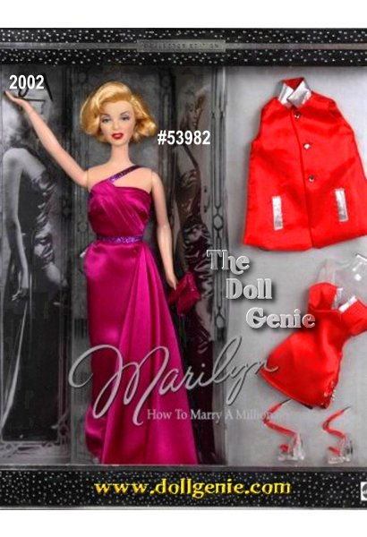 One of the silver screens most luminous stars, Marilyn Monroe is captured at the height of her talent and beauty in How to Marry A Millionaire. Her face is delicately sculpted, her blonde hairstyle meticulously replicated. She wears a stunning evening gown of deep magenta charmeuse, an authentic reproduction from the movie. This giftset also includes a second costume inspired by the one Marilyn wore in the films modeling scene. The bright coral bathing suit and matching cover-up are embellished with silvery lame insets.