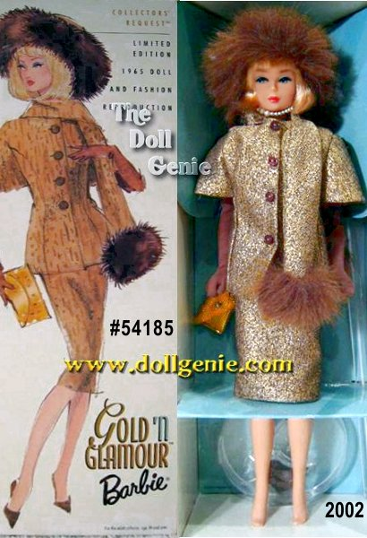Barbie captures a Collectors Request nostalgic sophistication in this reproduction of the 1965 fashion #1647 Gold N Glamour. Fifth in the Collectors Request Collection, Barbie wears a fabulous golden tweed jacket with cape sleeves and four decorative buttons, a matching golden tweed skirt with a striking aqua blue chiffon top, and numerous fun accessories. Matching scarf and hat with faux fur trim, long brown tricot gloves, golden purse, and closed-toe pumps complete her ensemble. Vintage skin tone, cherry red lips, and a blond page boy hairstyle make this doll a true vintage classic.