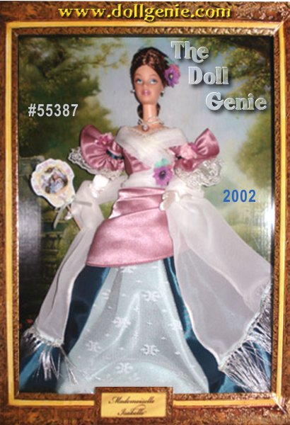 Limited Edition - This Club exclusive doll is featured in a dramatic frame to evoke the look of a charming shadowbox, and will come with a hook for hanging the package on the wall to display. Draped in a glorious ensemble in rich hues of mauve, ivory, and teal, Mademoiselle Isabelle Barbie is the first in the exceptional Portrait Collection. Her bodice of mauve satin is lavishly embellished with ivory chiffon and edged with lace. The full skirt of teal and black taffeta features a center panel of ivory lace over aqua taffeta. Pulling together her romantic outfit is an ivory chiffon shawl, delicately fringed with ivory lace. A gracious vision, she rnstands against a backdrop inspired by the fanciful Rococo style of art which originated in 18th century France.