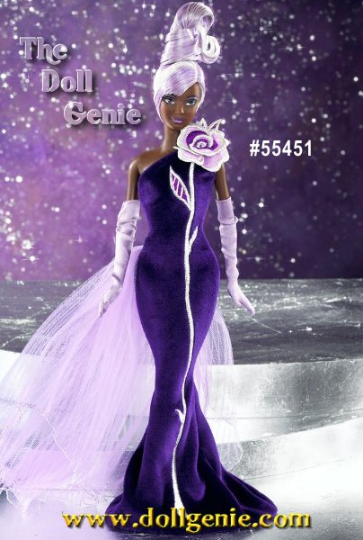 African American Collector Bob Mackie brings his signature sensational flair to Sterling Silver Rose Barbie doll. Wearing a glamorous deep purple panne gown accented with a single silver and lavender fabric rose and a lovely lavender bustle, Barbie is a true vision of distinctive beauty. Her platinum hair is highlighted with lavender hues and styled into an intricate updo. Dramatic face paint and long lavender gloves provide the sparkling finishing touches. African American Version designed by Bob Mackie