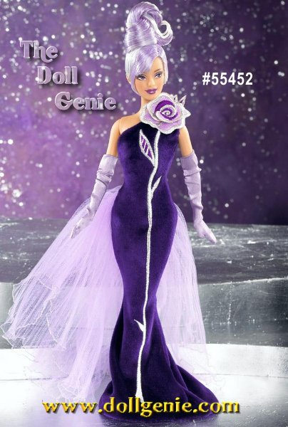 Bob Mackie brings his signature sensational flair to Sterling Silver Rose Barbie doll. Wearing a glamorous deep purple panne gown accented with a single silver and lavender fabric rose and a lovely lavender bustle, Barbie is a true vision of distinctive beauty. Her platinum hair is highlighted with lavender hues and styled into an intricate updo. Dramatic face paint and long lavender gloves provide the sparkling finishing touches. Hispanic Version