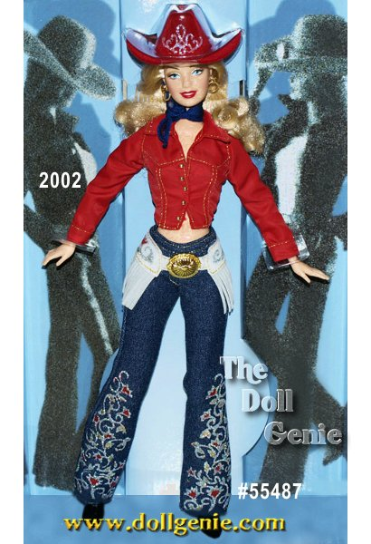 She is an urban princess, but her heart is in the country. This casual gal wears blue denim hipster jeans decorated with a down-home floral design and accented with silvery glitter. Her red cropped shirt and fabulous red cowboy hat add pure western attitude.