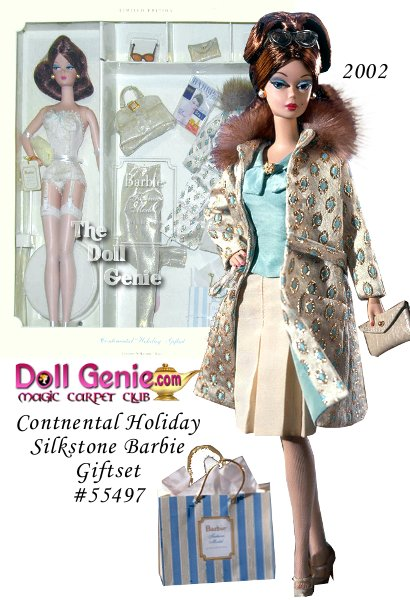 Limited Edition - The Continental Holiday Giftset brings you a beautiful brunette doll complete with a couture wardrobe. Creamy lace foundation and stockings are the elegant beginnings. An aqua sleeveless shell, ivory pleated skirt, and golden pants provide the striking separates. Rich faux fur accents her aqua and golden brocade coat. Her perfect traveling accessories include lg. handbag, sleek clutch, sling back heels, and trendy sunglasses.