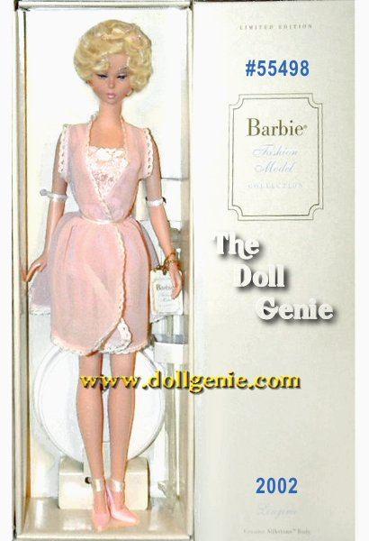 The fourth Lingerie doll in the Barbie Fashion Model Collection, Barbie looks darling in delicate pink. Intricate pale pink lace accents her heavenly bustier ensemble. Pink peek-a-boo peignoir floats over soft pink, feminine underpinnings. Sheer pink stockings and sling back high heels add flirtatious finishing touches. Barbie wears her platinum hair in a short curly style reminiscent of the Bubble Cut, and accented with a pink bow.