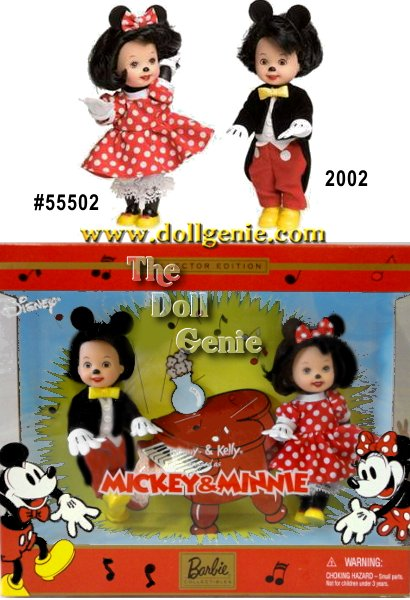 This nostalgic tribute to the wonderful days of the original Mickey and Minnie Mouse is inspired by their first cartoon movie, Steamboat Willie. Tommy doll wears Mickeys memorable attire of red pants and black tuxedo jacket with tails. Kelly doll as Minnie is adorable in her traditional red and white polka dot dress with white pantaloons. Painted with little mouse noses, both dolls wear mouse ears and mittens.