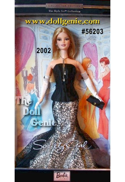 She is a big city girl with a hot, happening life! Shes everywhere that is anywhere she is Society Girl Barbie doll. Dressed for another night on the town, she wears an extraordinary gown featuring a black satin top with a lace-covered skirt. Sophisticated gloves and sleek purse are her perfect accessories.  $99.95