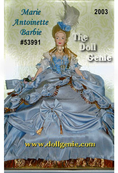 Carrying a handcrafted porcelain pair of roses, Barbie doll is the height of royalty as Marie Antoinette who became the Queen of France when her husband was crowned King Louis XVI in the  -length pantaloons and the blue satin ribbons on her shoes. A matching hat topped with feathers completes her ensemble. She wears an extravagant rhinestone necklace that complements her dramatic ensemble.