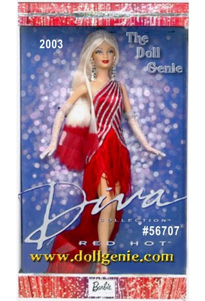 Third in the Diva Collection, this delightful diva wears a fabulous red dress with a diagonal glitter stripe and a fringe train. She has long blond hair, ? length white gloves with glitter, silvery dangling earrings, and red high heel shoes. For the crowning touch, Barbie dolls beautiful long blond hair is brushed with red tips.